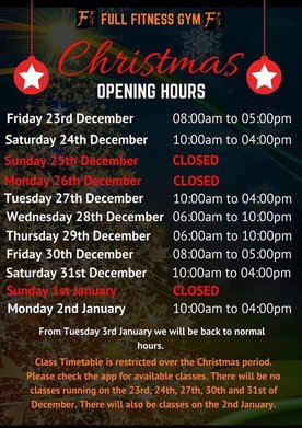 Full Fitness Gym Christmas opening hours times - Full